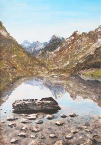 Berglandschap in acryl